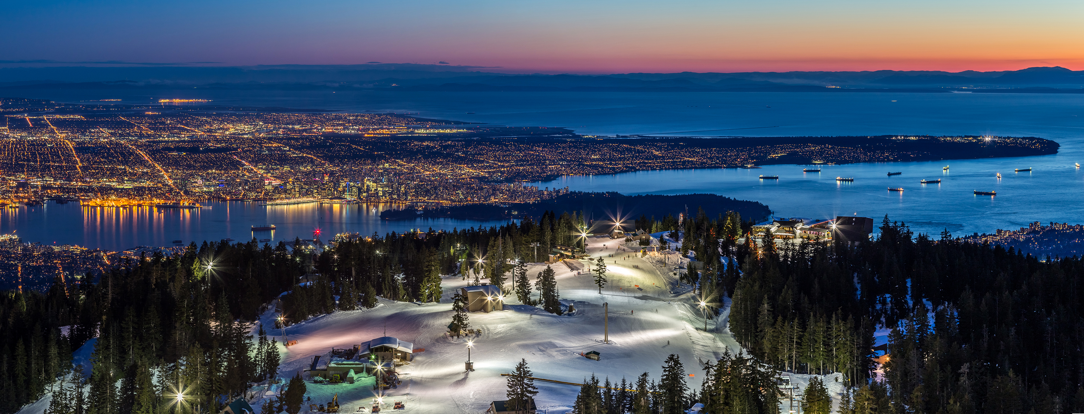 Grouse Mountain & views of North Vancouver & downtown